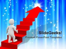 Man And Red Stairs Success PowerPoint Backgrounds And Templates 1210