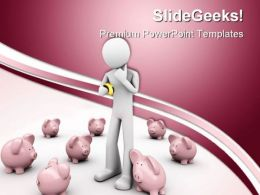 Man Making Choice Where To Save Future PowerPoint Templates And PowerPoint Backgrounds 0311