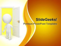 Man Opens Door Metaphor PowerPoint Templates And PowerPoint Backgrounds 0611