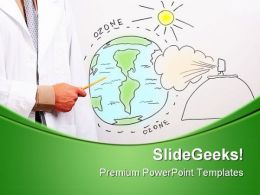 Man Pointing To Globe Science PowerPoint Templates And PowerPoint Backgrounds 0511