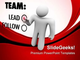 Man Presses Button Leadership PowerPoint Templates And PowerPoint Backgrounds 0811
