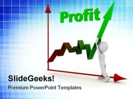 Man Pushing Up Profit Business PowerPoint Templates And PowerPoint Backgrounds 0511