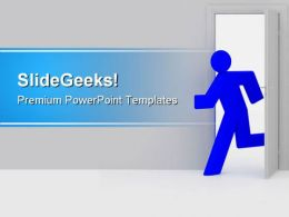 Man Running Through Door Metaphor PowerPoint Templates And PowerPoint Backgrounds 0811