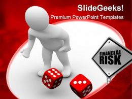 Man Throws Red Dices Finance PowerPoint Templates And PowerPoint Backgrounds 0311