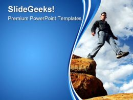 Man Walking The Corporate Ladder Business PowerPoint Templates And PowerPoint Backgrounds 0311