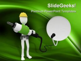 Man With Cable Satellite Industrial PowerPoint Templates And PowerPoint Backgrounds 0211