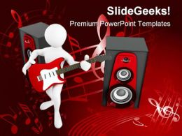 Man With Guitar And Loud Speakers Music PowerPoint Templates And PowerPoint Backgrounds 0211