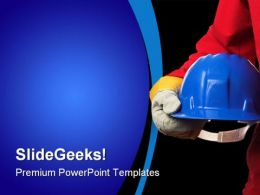Man With Helmet Construction PowerPoint Templates And PowerPoint Backgrounds 0411