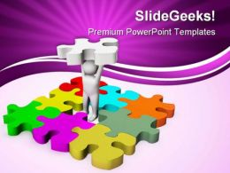 Man With Last Puzzle Business PowerPoint Templates And PowerPoint Backgrounds 0411
