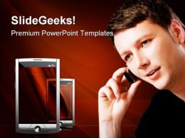 Man With Mobile Technology PowerPoint Templates And PowerPoint Backgrounds 0111
