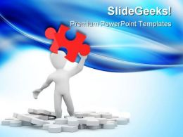 Man With Red Puzzle Business PowerPoint Templates And PowerPoint Backgrounds 0311