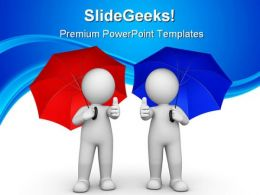 Man With Thumbs Up Protection Business PowerPoint Backgrounds And Templates 1210