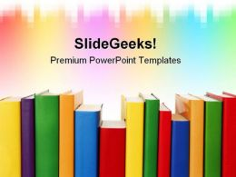 Many Colorful Books In A Row Education PowerPoint Templates And PowerPoint Backgrounds 0611