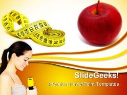 Measuring Tape With Red Apple Health PowerPoint Templates And PowerPoint Backgrounds 0311