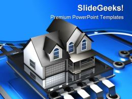 Microchip And House Realestate PowerPoint Templates And PowerPoint Backgrounds 0311