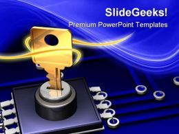 Microchip And Key Security PowerPoint Templates And PowerPoint Backgrounds 0411