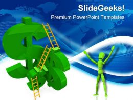 Money Ladders Leadership PowerPoint Templates And PowerPoint Backgrounds 0611