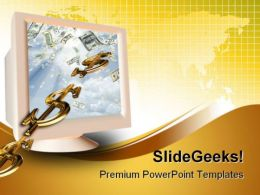Monitor And Dollar Sign Global PowerPoint Templates And PowerPoint Backgrounds 0211