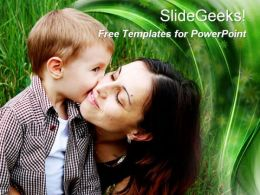 Happy beautiful healthy family son kissing mother free powerpoint templates ppt themes presentation backgrounds1
