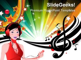 Music Girl Abstract PowerPoint Templates And PowerPoint Backgrounds 0511