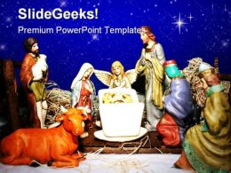 Nativity Birth Christ Religion PowerPoint Template 0610