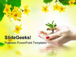 New Life In Hand Beauty PowerPoint Templates And PowerPoint Backgrounds 0711