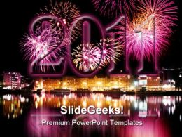 New Year 2011 Fireworks Festival PowerPoint Template 1010