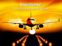 Night Landing Airplane Transportation PowerPoint Templates And PowerPoint Backgrounds 0311
