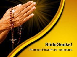 Old Hands Praying Religion PowerPoint Templates And PowerPoint Backgrounds 0411