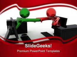 Online Handshake Internet PowerPoint Background And Template 1210