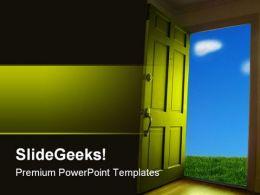 Open Door To Nature Metaphor PowerPoint Templates And PowerPoint Backgrounds 0811