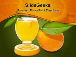 Orange Juice Food PowerPoint Template 0810