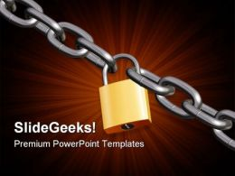 Padlock With Chain Security PowerPoint Templates And PowerPoint Backgrounds 0711
