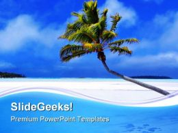 Palm Paradise Beach PowerPoint Templates And PowerPoint Backgrounds 0711