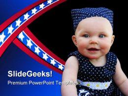 Patriotic Baby Americana PowerPoint Template 0910