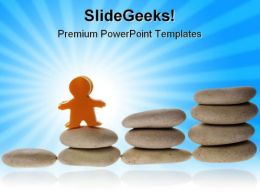 Pebbles Ladder Business PowerPoint Backgrounds And Templates 1210
