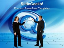 People With At Sign Globe PowerPoint Templates And PowerPoint Backgrounds 0211