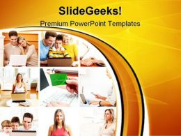 People With Laptop Computer PowerPoint Templates And PowerPoint Backgrounds 0911