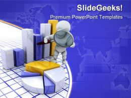 Person Inspecting Pie Chart Business PowerPoint Templates And PowerPoint Backgrounds 0711