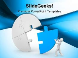 Person Join The Last Puzzle Business PowerPoint Templates And PowerPoint Backgrounds 0411