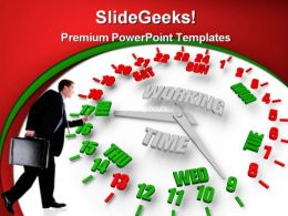 Person Looking Work Week Clock Business PowerPoint Templates And PowerPoint Backgrounds 0311