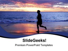 Person On Beach Sunset PowerPoint Templates And PowerPoint Backgrounds 0711