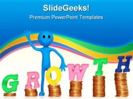 Person With Coins And Growth Finance PowerPoint Templates And PowerPoint Backgrounds 0711