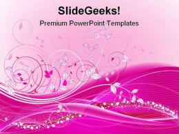 Pink Floral Abstract Beauty PowerPoint Template 0910
