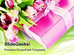 Pink Tulips And Gift Festival PowerPoint Templates And PowerPoint Backgrounds 0311