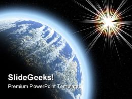 Planet With Starburst Globe PowerPoint Templates And PowerPoint Backgrounds 0711