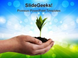 Plant In Hands Nature PowerPoint Templates And PowerPoint Backgrounds 0511