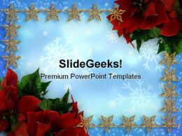 Poinsettias And Stars Christmas PowerPoint Templates And PowerPoint Backgrounds 0711