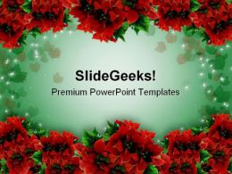 Poinsettias Christmas Garland Background PowerPoint Templates And PowerPoint Backgrounds 0711