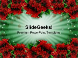 Poinsettias Christmas PowerPoint Template 0610